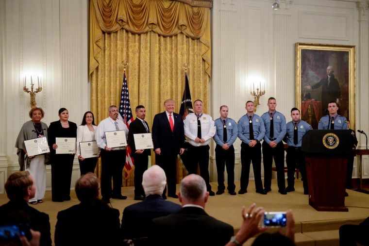 Image: President Donald Trump awards Medal of Valor and heroic commendations to first responders of the mass shootings in Dayton, Ohio, and El Paso, Texas, on Sept. 9, 2019.