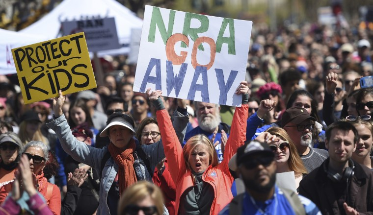 "In this March 24, 2018, file photo, crowds of people participate in the March for Our Lives rally in support of gun control in San Francisco. The National Rifle Association sued San Francisco on Monday, Sept. 9, 2019, over the city's recent declaration that the gun-rights lobby is a ""domestic terrorist organization."""