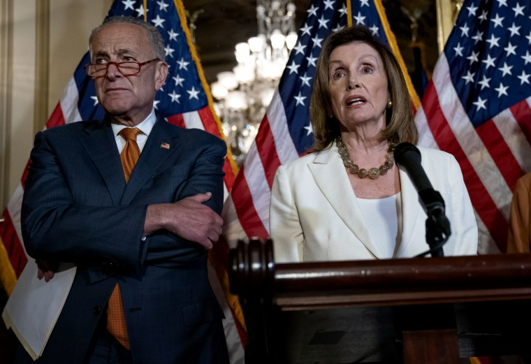 Image: Senate Minority Leader Chuck Schumer and Speaker of the House Nancy Pelosi call for a vote on the House-passed Bipartisan Background Checks Act at the Capitol on Sept. 9, 2019.