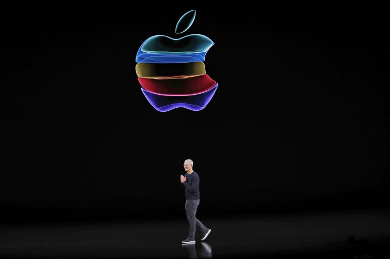 Image: CEO Tim Cook speaks at an Apple event at their headquarters in Cupertino