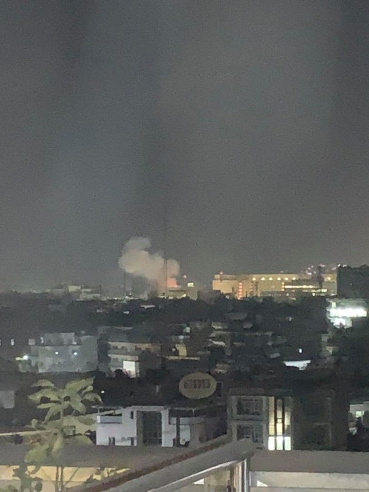 Smoke rising from the location of a blast near the U.S. embassy in Kabul