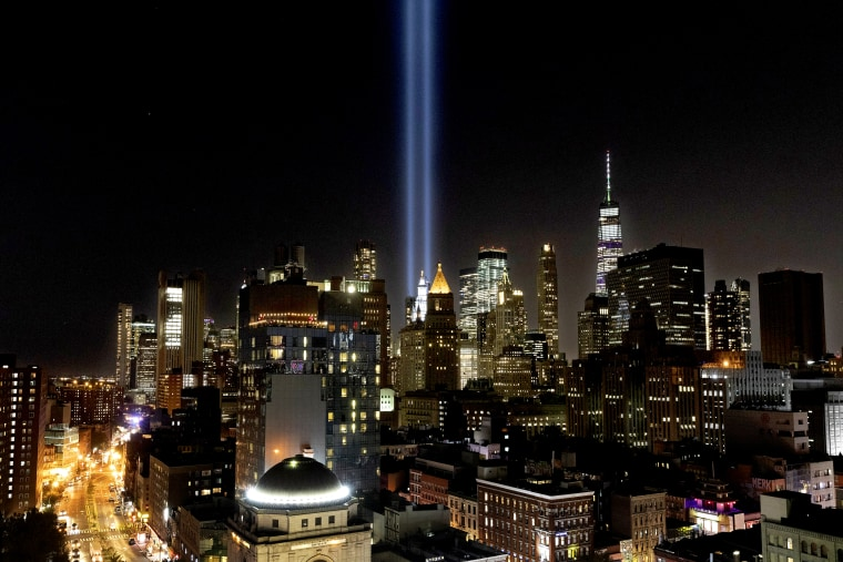 Image: The Tribute in Light rises above the Lower Manhattan skyline to mark the 18th anniversary of the Sept. 11 terror attacks on Sept. 10, 2019.
