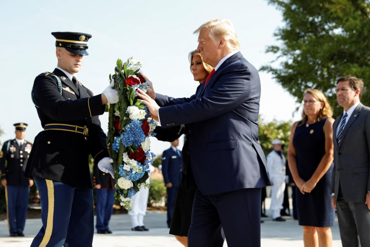 Image: U.S. President Trump attends Pentagon ceremony to mark the 18th anniversary of September 11 attacks in Washington