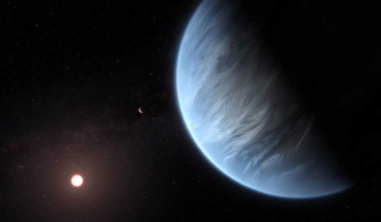 This artist's impression shows the planet K2-18b, its host star and an accompanying planet in this system.