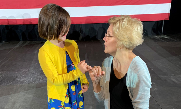 Sen. Elizabeth Warren meets Abby Wood's daughter.