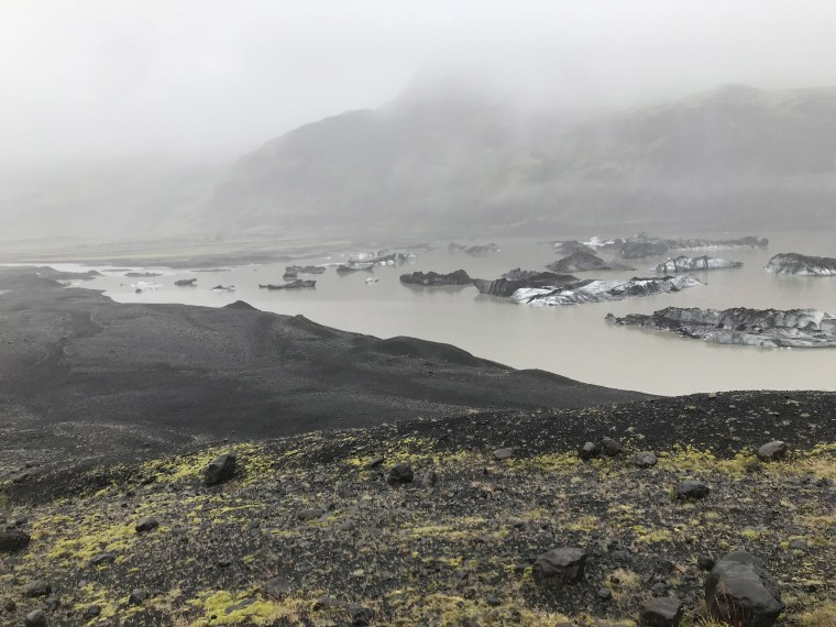 Image: The lagoon at the base the Solheimajokull Glacier in Iceland.