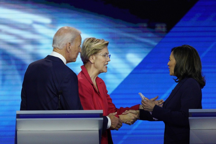 Image: From left, Democratic presidential candidates former Vice President Joe Biden, Sen. Elizabeth Warren, D-Mass., and Sen. Kamala Harris, D-Calif.