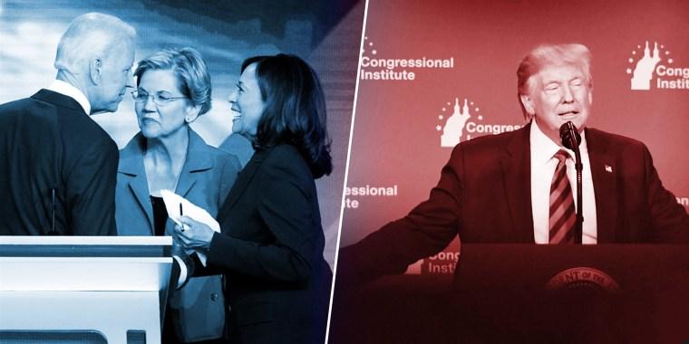 Image: Joe Biden, Elizabeth Warren, Kamala Harris,  Donald Trump
