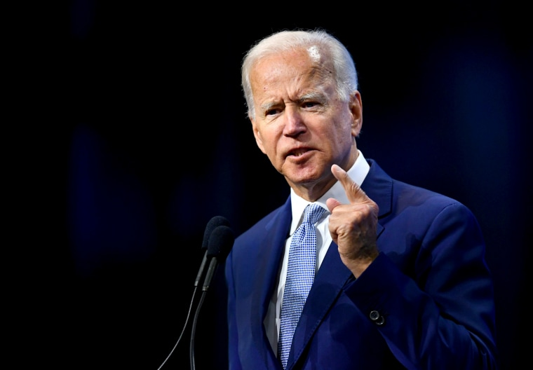 Image: Joe Biden speaks at the New Hampshire Democratic Party state convention in Manchester on Sept. 7, 2019.