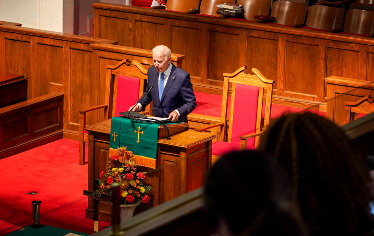 Image: Joe Biden speaks at an anniversary memorial observance for the Birmingham Church bombing in Alabama on Sept. 15, 2019.