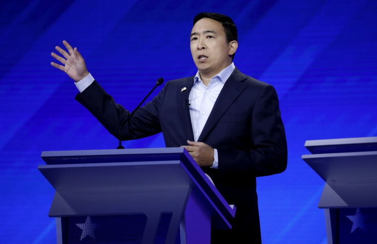 Image: Andrew Yang speaks at the Democratic presidential debate in Houston, Texas, on Sept. 12, 2019.