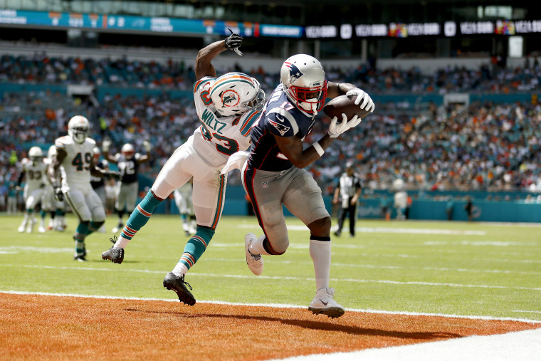 Image: Antonio Brown of the New England Patriots scores a touchdown against the Miami Dolphins on Sept. 15, 2019.