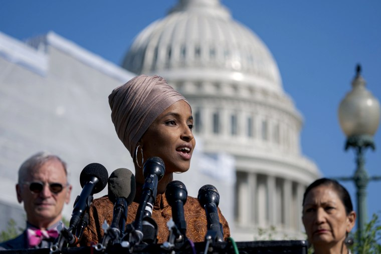 Image: Rep. Ilhan Omar, D-Minn., speaks outside of the Capitol on July 25, 2019.