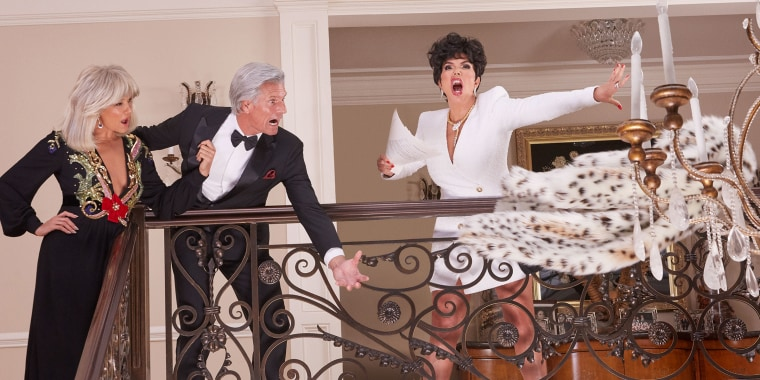 """Yolanda Hadid and Kris Jenner stepped into the pumps of """"Dynasty"""" archenemies Alexis and Krystle Carrington."""