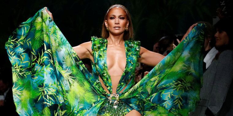 See Jennifer Lopez walk the runway in a new version of her iconic green Versace dress