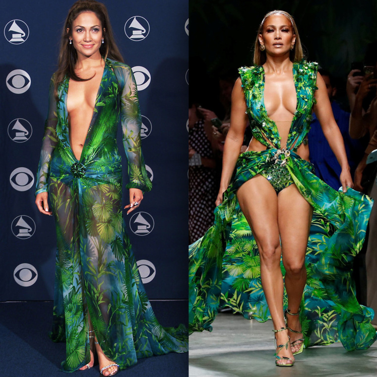 Jennifer Lopez in Versace at the 42nd Grammy Awards held in Los Angeles, CA on February 23, 2000. Jennifer Lopez presents a creation from the Versace Spring/Summer 2020 collection during fashion week in Milan, Italy September 20, 2019.