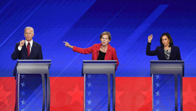 Image: Democratic presidential candidates former Vice President Joe Biden, Massachusetts Sen. Elizabeth Warren and California Sen. Kamala Harris