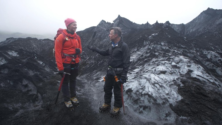 Image: Richard Engel and Sigurros Arnardottir, a masters student in glacial geology at the University of Iceland, atop the Solheimajokull Glacier in Iceland.