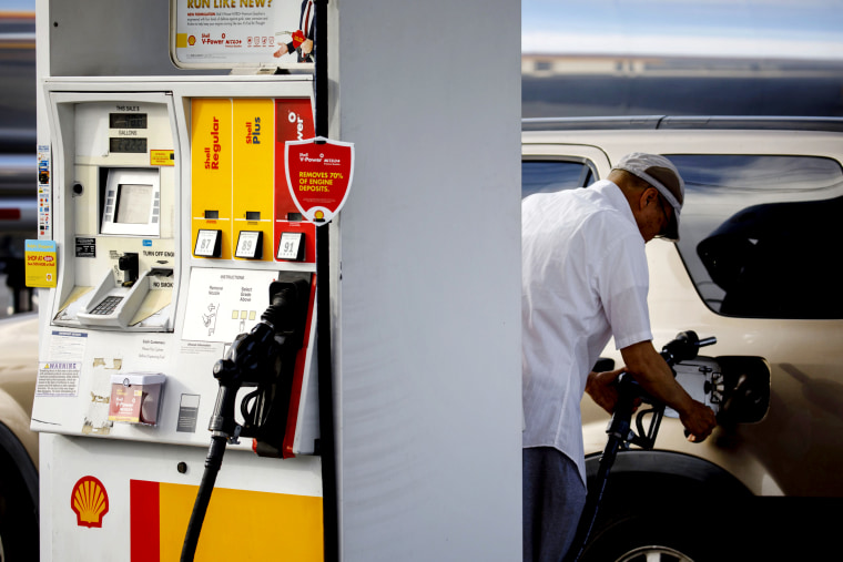 Image: A customer pumps gas in Redondo Beach, Calif., on July 28, 2019.