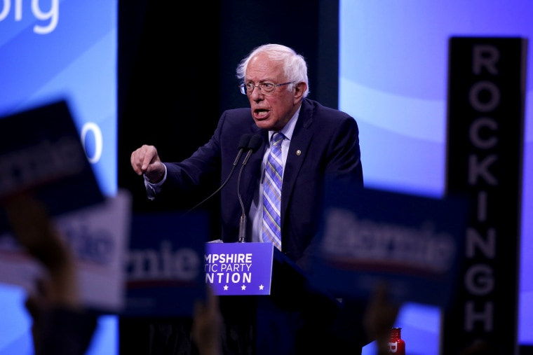 Image: Sen. Bernie Sanders, I-VT, speaks at the New Hampshire State Democratic Party Convention in Manchester on Sept. 7, 2019.