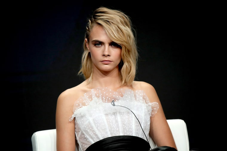 Image: Cara Delevingne speaks during the Television Critics Association Press Tour in Beverly Hills on July 27, 2019.