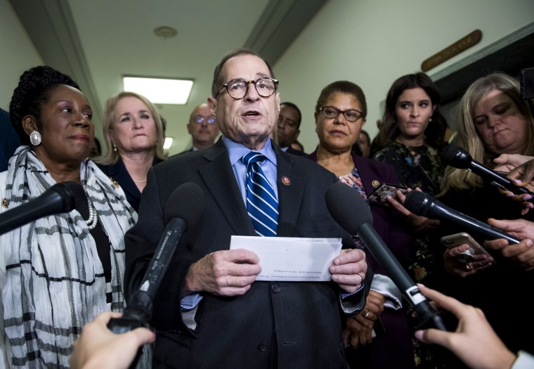 Image: House Judiciary Committee Chairman Jerry Nadler speaks to reporters on Sep. 12, 2019.