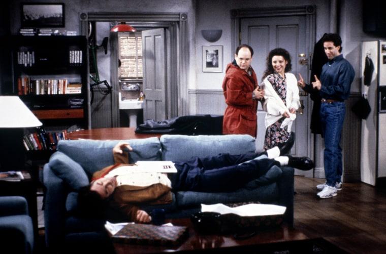 "Image: Michael Richards, Jason Alexander, Julia Louis-Dreyfus, and Jerry Seinfeld in ""Seinfeld."""