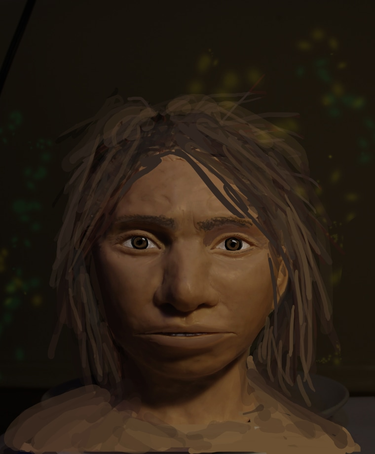 Image: This image shows a preliminary portrait of a juvenile female Denisovan based on a skeletal profile reconstructed from ancient DNA methylation maps.