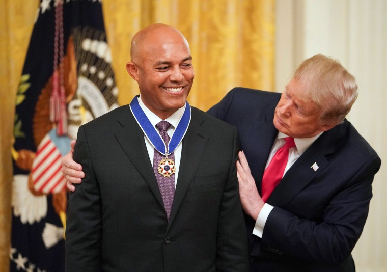Image: President Donald Trump awards former New York Yankees pitcher Mariano Rivera with the Medal of Freedom at the White House on Sept. 16, 2019.