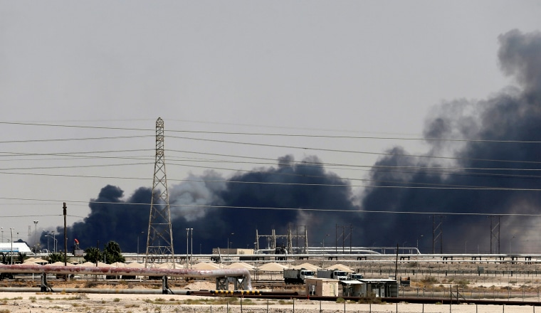 Image: Smoke rises following a fire at the Aramco facility in Saudi Arabia on Sept. 14, 2019.