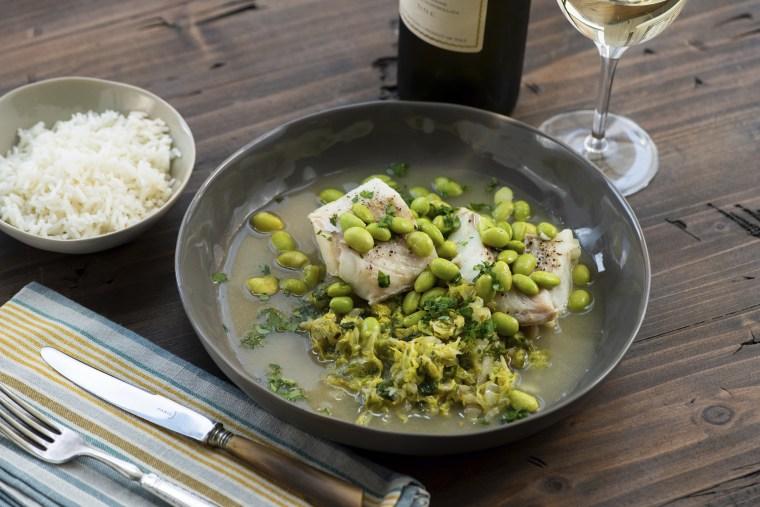 Image: Cod, Cabbage and edamame dish