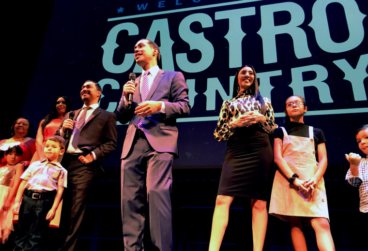 Image: Democratic presidential candidate Juli?n Castro and his twin brother U.S. Rep. Joaqu?n Castro celebrate their 45th birthday with their families and San Antonio supporters on Sept. 16, 2019 at Tobin Performing Arts Center.