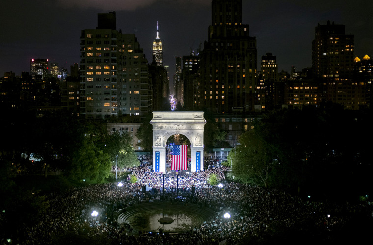 Image: Sen. Elizabeth Warren speaks at a presidential campaign rally in Washington Square Park in New York on Sept. 16, 2019.