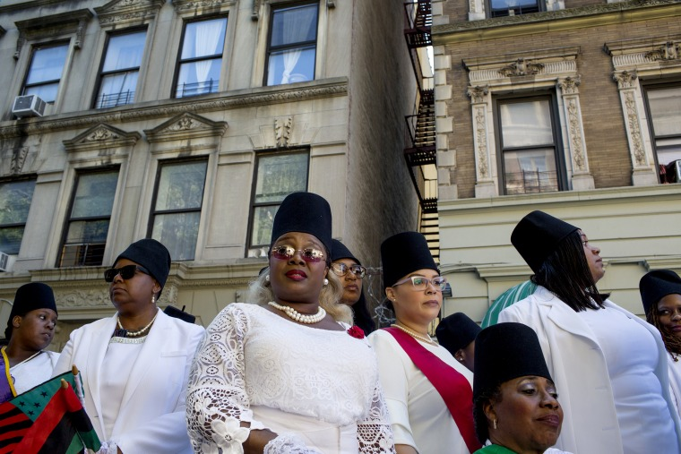 Image: Black Masons at the 50th Anniversary African American Day Parade in Harlem on Sept. 15, 2019.