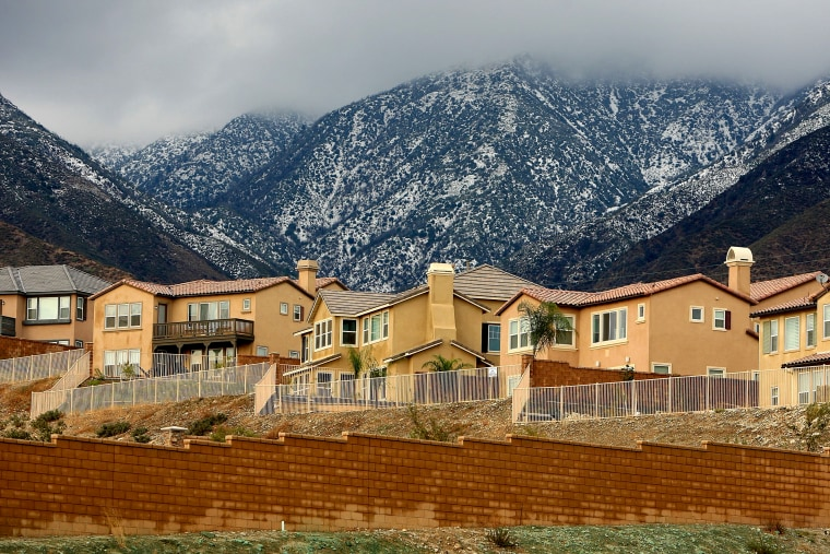 Image: Recently finished homes and unfinished lots in Rancho Cucamonga, Calif., in 2008.
