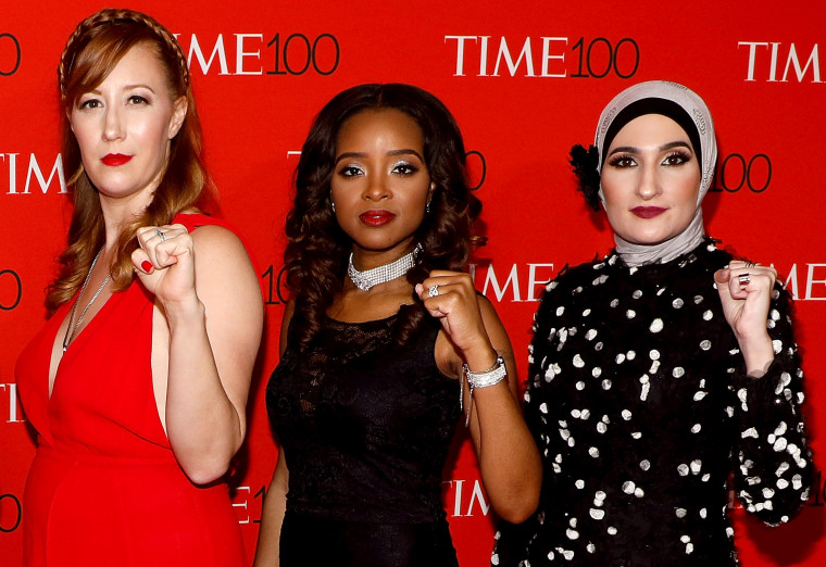 Image: Bob Bland, Tamika Mallory, and Linda Sarsour attend the Time 100 Gala in New York in 2017.