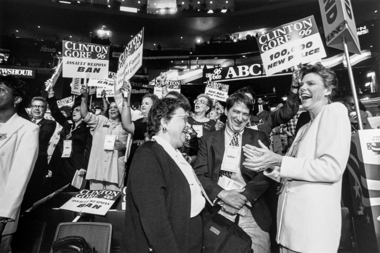 Image: Sen. Barbara Mikulski laughs with ABC commentator Cokie Roberts at the Democratic Convention in August 1996.