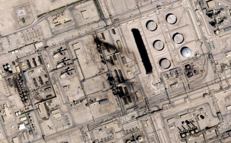 Image: A satellite image shows damage to an oil facility in Saudi Arabia on Sept. 15, 2019.