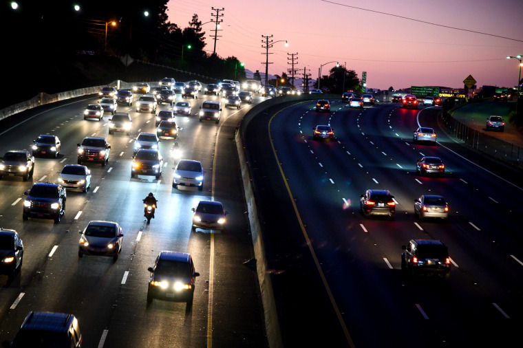 Image: Cars drive along the 101 Freeway in Los Angeles on Sept. 17, 2019.