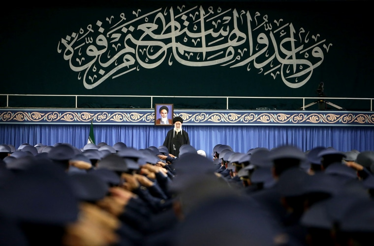 Image: Iran's religious leader Ayatollah Ali Khamenei speaks in Tehran on Feb. 8, 2019.
