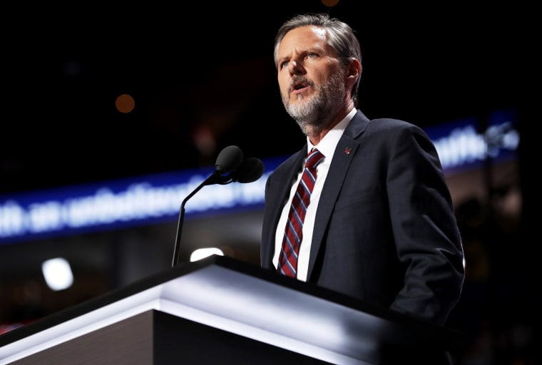 Image: Jerry Falwell Jr. speaks at the Republican National Convention in Ohio on July 21, 2016.