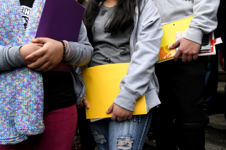 Image: Undocumented children step out of sanctuary at the Church of the Advocate in Philadelphia on Jan. 29, 2018.