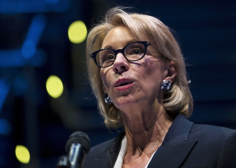 Betsy DeVos visits school with explicit anti-transgender policy