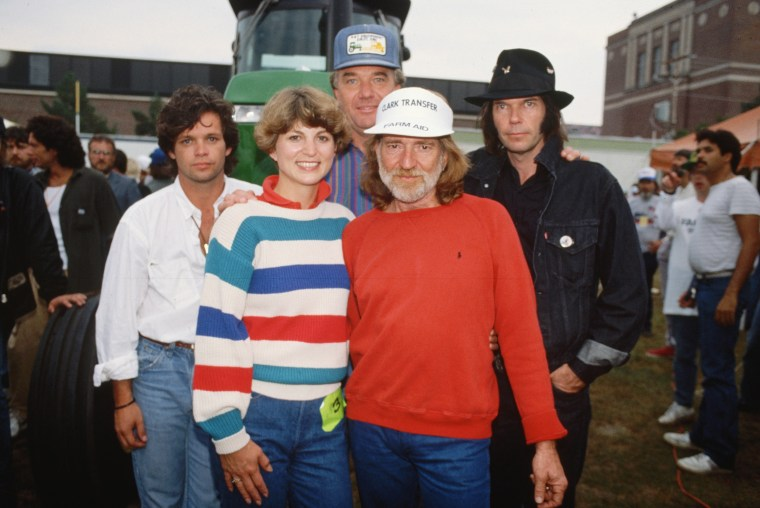 Willie Nelson, John Cougar, and Neil Young with Farmers
