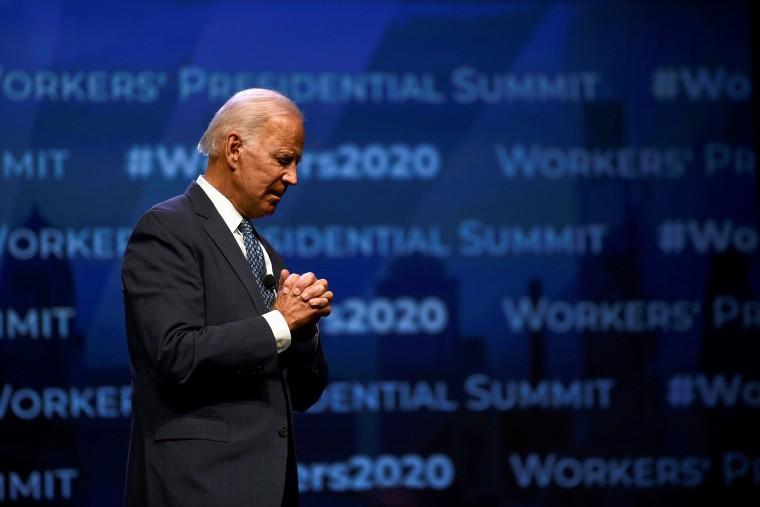 Image: Former U.S. Vice President Joe Biden addresses attendees during the AFL-CIO Workers Presidential Summit in Philadelphia