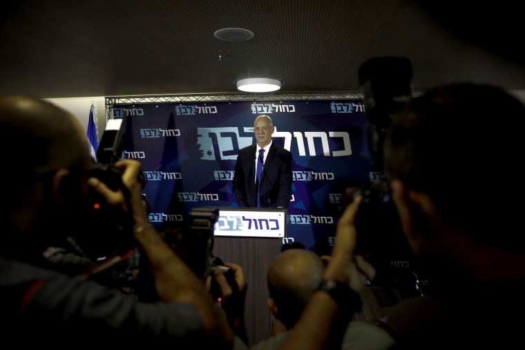 Image: Benny Gantz speaks at a press conference in Tel Aviv on Sept. 19, 2019.