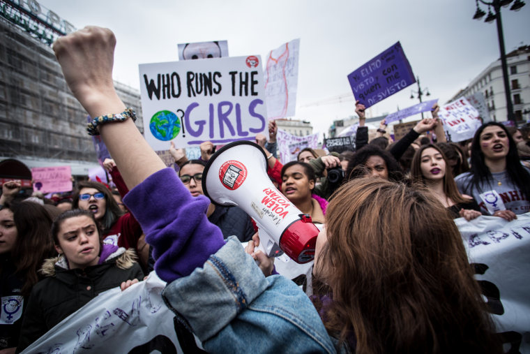 Image: A demonstrator chants during a march for International Women's Day in Madrid on March 8, 2018.