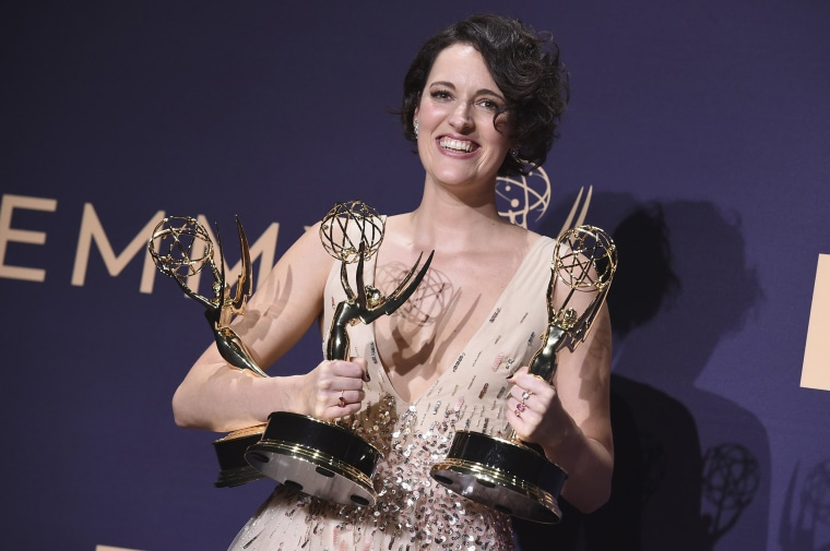 "Image: Phoebe Waller-Bridge, winner of the awards for outstanding lead actress in a comedy series, outstanding comedy series and outstanding writing for a comedy series for ""Fleabag,"""