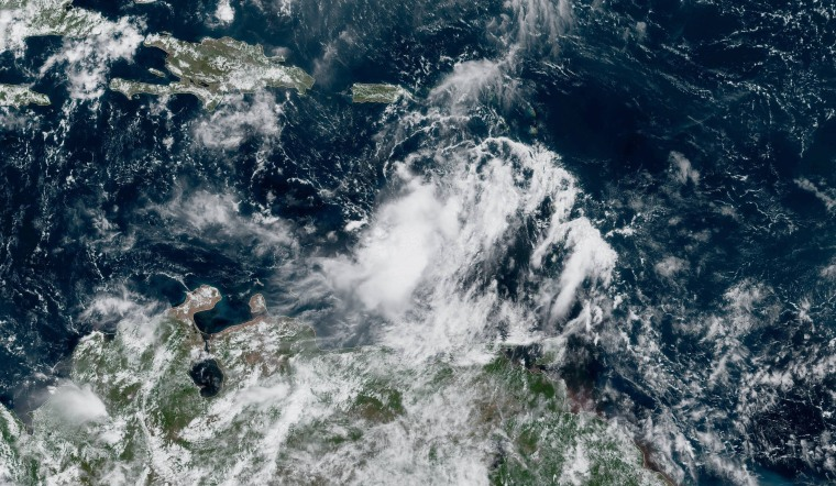 Image: Tropical Storm Karen approaches the Virgin Islands and Puerto Rico on Sept. 23, 2019.