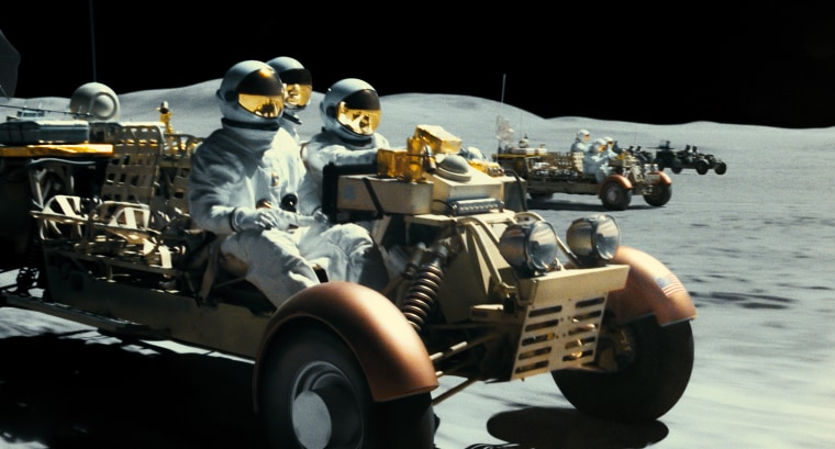 "A chase sequence on the surface of the moon in a scene from ""Ad Astra."""